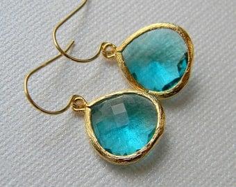 Blue Zircon Earrings - Gold Earrings - Something Blue - Czech Glass - Gift for Her