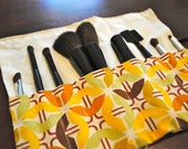 Beauty/Make-Up Brush Roll - Fall Colored Fabric