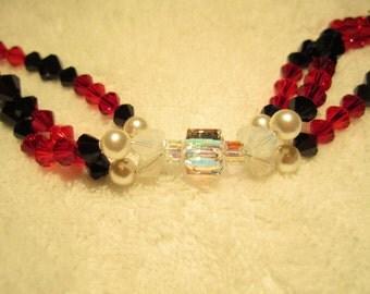 Multi-stand Beaded Swarovski Bracelet