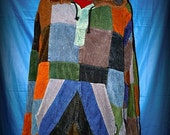 Corduroy Patchwork Pullover Hoodie GD MEN'S LARGE