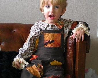 Boy or Girl Scarecrow Costume Complete with Flannel Shirt, Overalls and Straw Hat