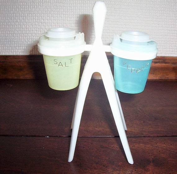 Items similar to vintage tupperware salt pepper shakers w stand toothpick holder atomic retro - Toothpick shaker ...