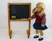 "American Girl Doll Furniture Chalkboard  / 18"" Doll Furniture / Oak Chalkboard"