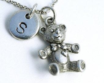 Teddy Bear charm, teddy bear necklace, Silver teddy bear, initial necklace, initial hand stamped, personalized, antique silver, monogram