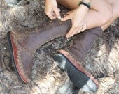 MockMock, handmade leather sewn moccasin boots, bead closing detail.
