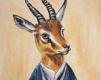 Digital Print Illustration Print Art Poster Acrylic Painting Kids Decor Drawing Illustration Gift : Monsieur Gazelle