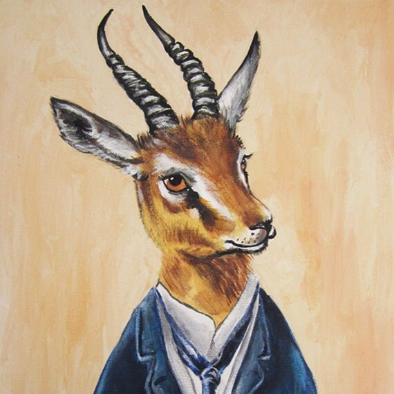 Monsieur Gazelle -Original Hand Painting Mixed Media- Kids Wall Art Dictionary Dorm Decors Nursery