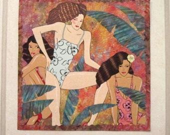 Bathing Beauties - Art Quilt - Swimsuit - Women - Girls - Quilt - Handmade - Art - Wall Hanging - Tropical