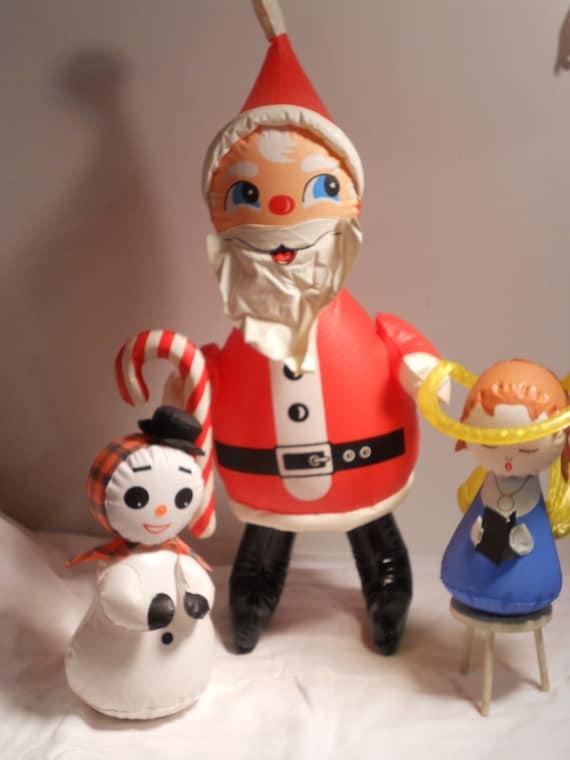 Vintage inflatable santa claus snowman angel
