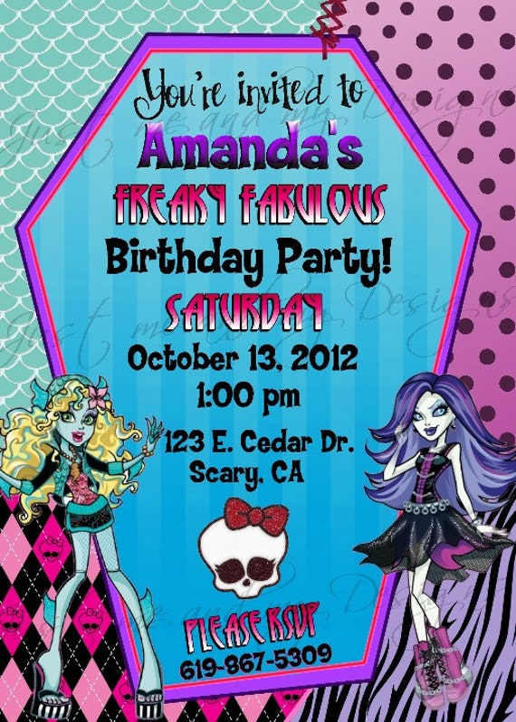 Monster high personalized printable birthday party invitation - Carte invitation anniversaire monstre ...
