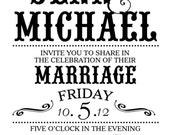 Vintage Inspired Wedding Invitation, 8.5 x 5.5, DIY