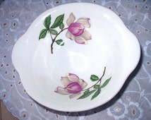 Magnolia Pink Flowers Cereal Bowl Lipped Lugged Discontinued Pattern Iva Lure by Crooksville Vintage China Delmar Diana