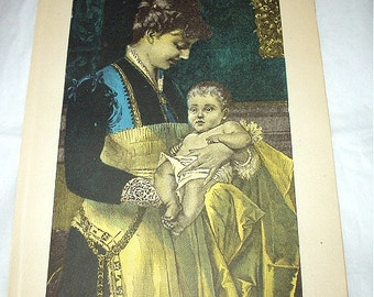 Mother Holding Baby Engraving Late 1800s Antique Coloured Book Plate Illustration Lithograph Picture Print Home Decor Wall Hanging Art