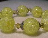 Yellow Crackle Glass Stretch Magic Bracelet