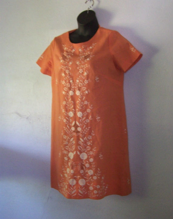 Apricot Orange Carmel Embroidered Dress