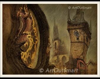 Prague Czech Republic-  Prague Clock, Color, Prague  Fine Art Photography, Prague Wall Art Decor