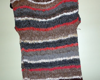 Vintage Genuine Leather Hand Knitted Sweater/Shirt Vest 1980's