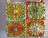 Ladies Girls Hand Crocheted Yellow Green Orange and Cream Flower Shoulder Hip Bag Purse