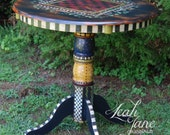 Hand Painted Bistro Pub Checker Board Game Table