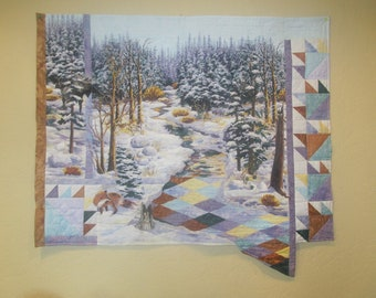 Appliqued Collage Quilt- Ptarmigan Winter