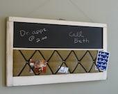 Vintage Window Chalk Board and Burlap Memory Board