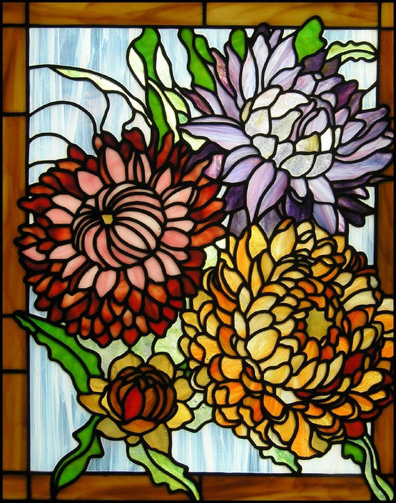 Chrysanthemums Stained Glass Panel