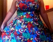 Pin-Up/Vintage Style Marvel Print Dress