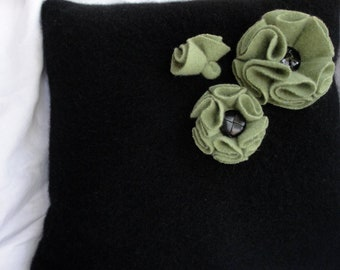 Upcycled Black Cashmere Sweater Pillow with Cashmere Folded Flowers