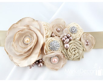 Bridal Sash / Belt in Tan, Ivory and Champagne with Brooches, Glass Beads and Handmade Flowers
