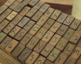 Vintage Alphabet Stamp Set -- Wooden Rubber Stamps -- Rubber Stamps -- Handwritten Form -- 70 pcs