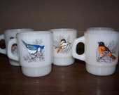 fire king set 5 song bird mugs D handle oriole blue jay cardinal chickadee