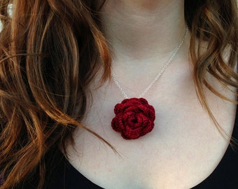 Crochet burgundy red rose necklace with silver chain