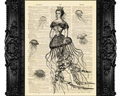 Jellyfish Queen, Mermaid - ORIGINAL ARTWORK - Dictionary Art Print Vintage Upcycled Antique Book Page no.206