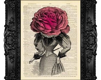Rose is a rose is a rose...  - ORIGINAL ARTWORK - Dictionary Art Print Vintage Antique Upcycled Book Page no.21