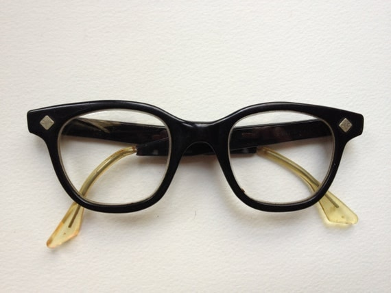 Black 1950's Glasses with Silver Diamond Shapes
