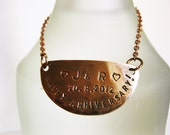 Personalized Copper Bottle Tag, Decanter Tag, Label with Chain - Handstamped Message Names Date - Wedding, Anniversary Gift, Holiday Decor