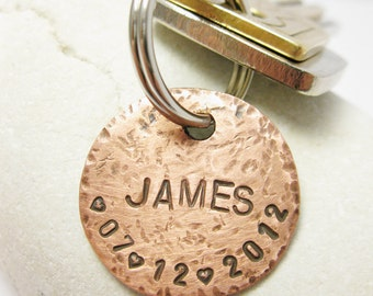 Personalized Circle Copper Key Chain, Hand Stamped Custom Names, Dates, Initials, Hammered, Rustic, Men Groomsmen Friend Family Driver Gift