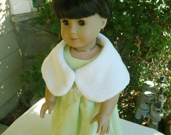 American girl, Handmade, light green Holiday Dress, Christmas Dress , Doll outfit, Dolls Apparel, Kids, shoulder wrap.