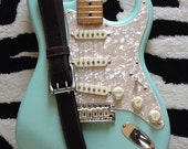 Genuine Leather Guitar Strap with a Nickel Colored Buckle