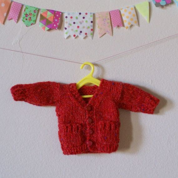 "Hand Knit Red Wool Blythe 12"" Doll Boyfriend Cardigan with Buttons and Pockets"