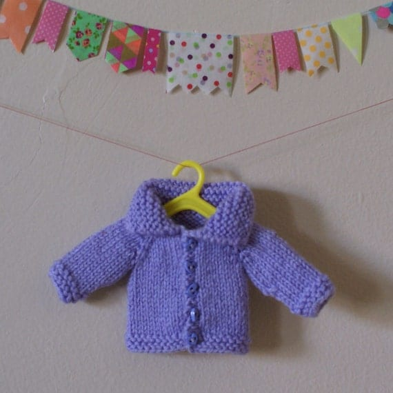 "Hand Knit Mauve Wool Blythe 12"" Doll Cardigan with Collar and Heart Shaped Buttons"