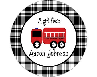 Printable 3-inch Firetruck Property Label or Gift Tag, Digital Label by Swell Printing - Personalized Wording