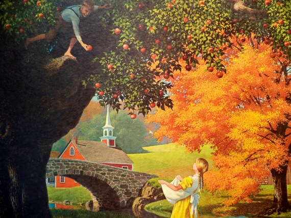 Vintage Framed Fall Lithograph Boy And Girl Gathering