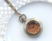 Vintage Style Antique Brass Pocket Watch, Victorian Clock, Bohemain Pocketwatch, Necklace Working Clock (PW06)