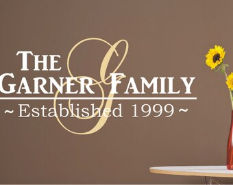 Family Name Wall Decal - Family Monogram Decal - Established Decal - Personalized Home Decor - Wedding Registry