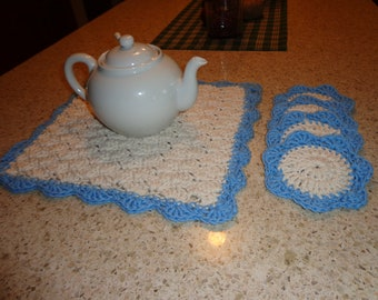 Crochet Tea Mat and  Coasters