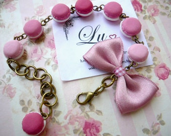 macarons and bow, handmade polymer clay bracelet
