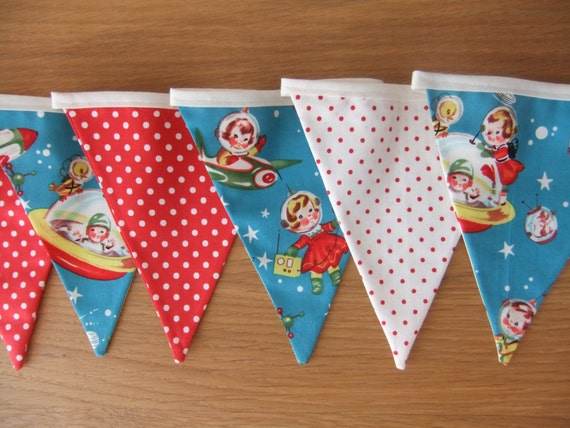 Bunting In Retro Rocket Rascals Fabric And Red/white Polka Dot