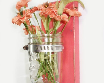 SALE-Cottage Chic Wall Flower Vase- Coral - Country Chic- Shabby- Country Decor- Choose From Many Colors