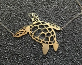 Turtle Necklace, gold filled chain,  24k gold plated turtle pendant, unique everyday necklace